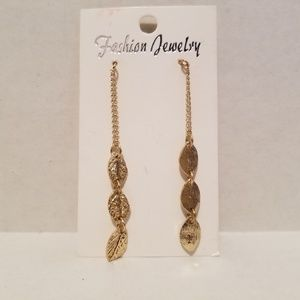 Gold Triple Leaf Chain Drop Earring